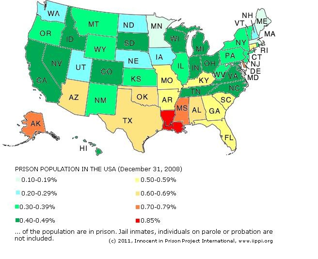 USA Almost Of All Prisoners Worldwide Are In The Land Of The - Louisiana on the map of usa
